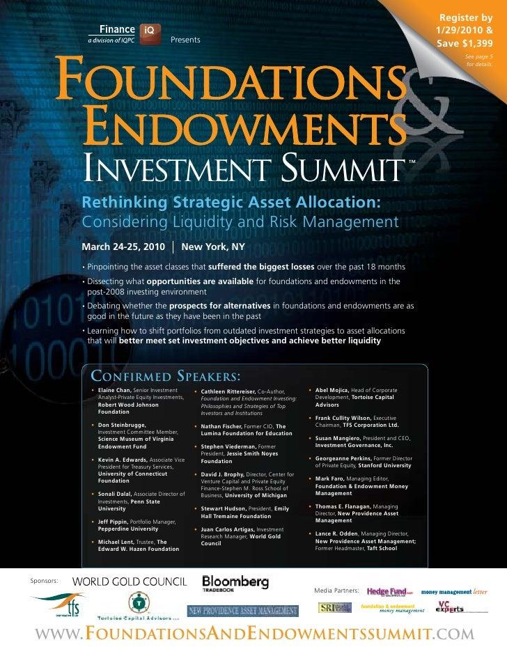 Foundations & Endowments Investment Summit Agenda
