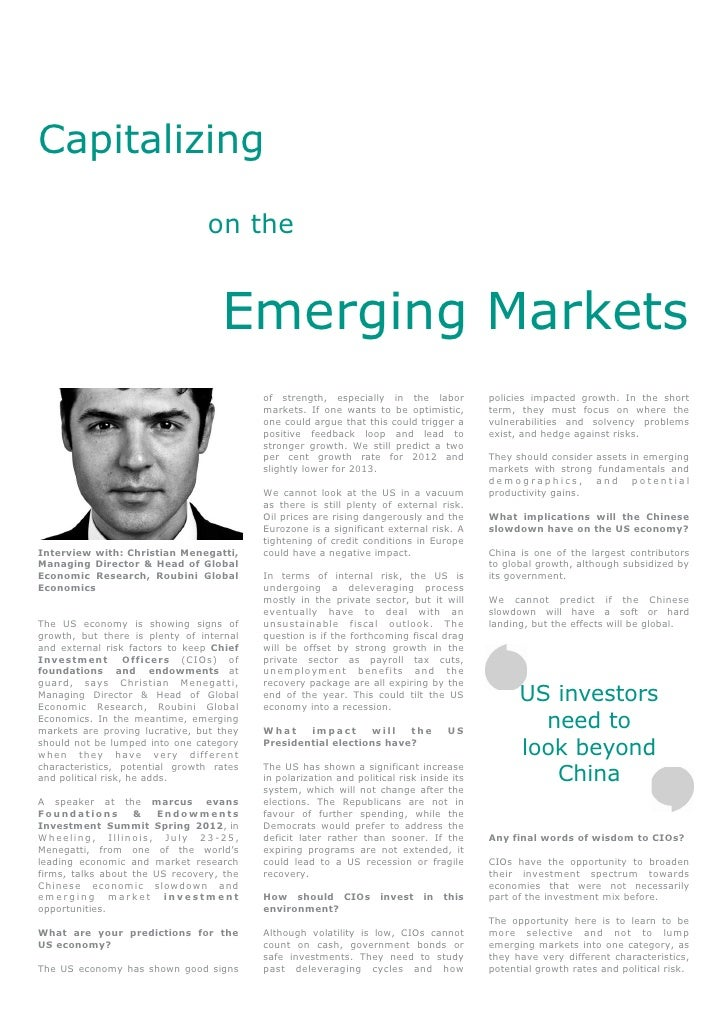 Capitalizing on the Emerging Markets - Interview with: Christian Menegatti, Roubini Global Economics - North American Investors Summit