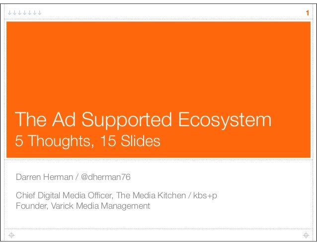 The Ad Supported Ecosystem 5 Thoughts, 15 Slides Darren Herman / @dherman76 Chief Digital Media Officer, The Media Kitchen ...