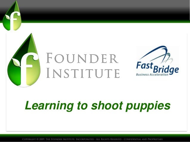Founder institute learning to shoot puppies