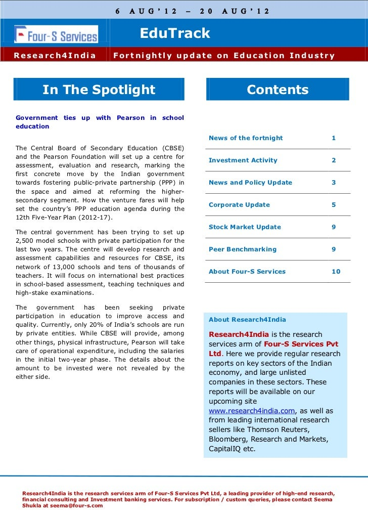 Four s fortnightly education track 6th august - 20th august 20123