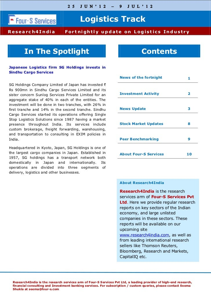 Four s fortnightly logistics track 25th july - 9th july 2012