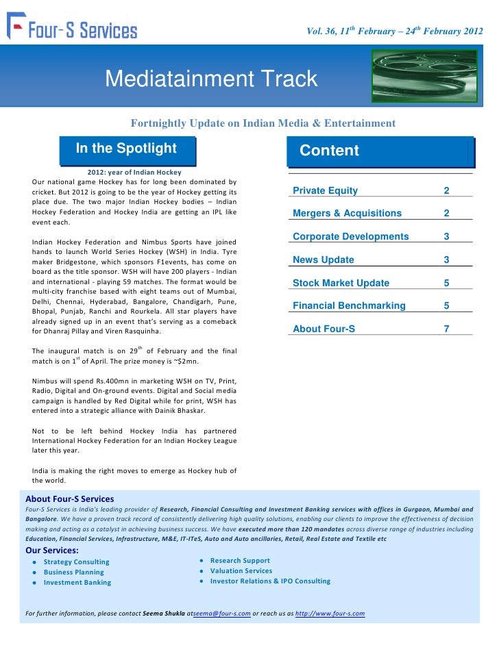 Vol. 36, 11th February – 24th February 2012                           Mediatainment Track                                 ...