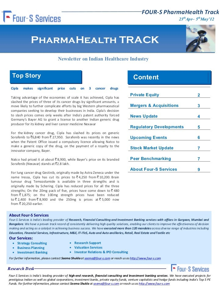 Four s fortnightly pharma health track 23rd april - 5th may 2012