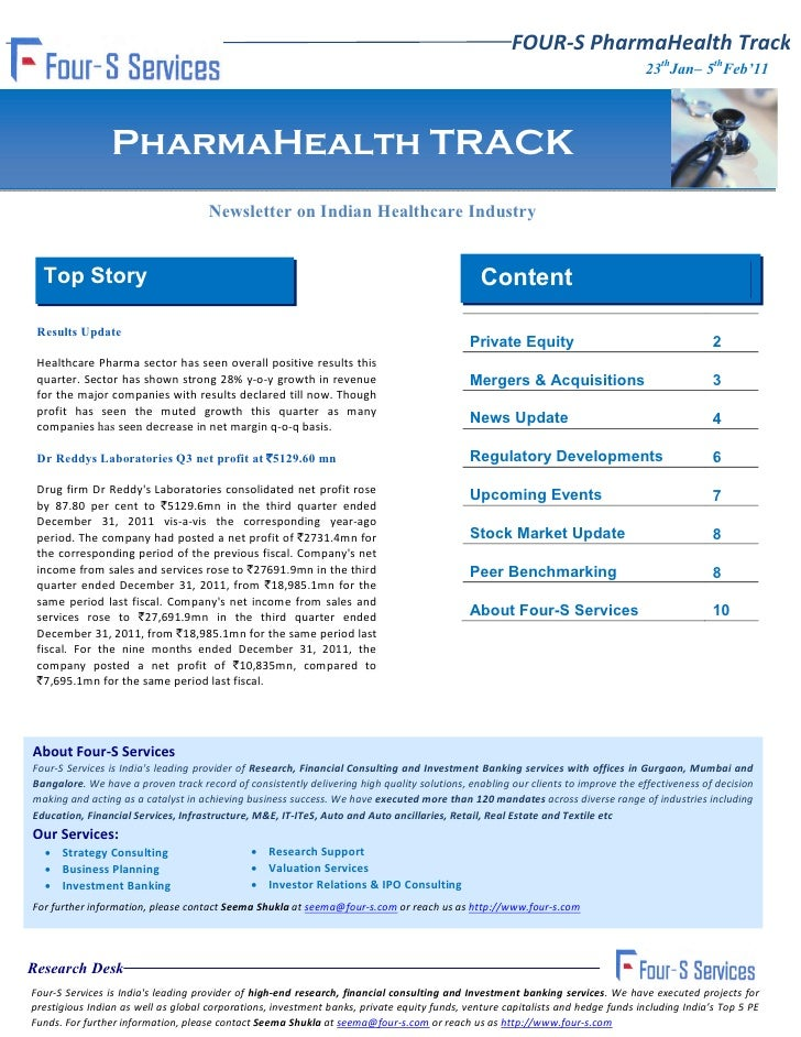 Four s fortnightly pharma health track  23th january - 5th febuary 2012