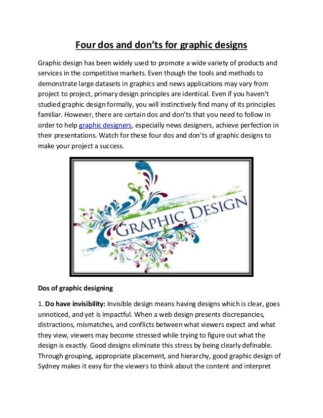 Four dos and don'ts for graphic designs