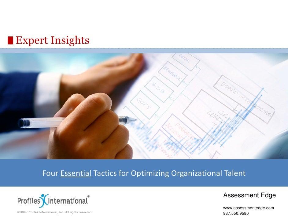 Four Essential Tactics for Optimizing Organizational Talent