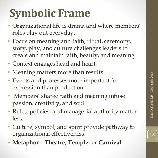 political and symbolic frame analysis An exposition of the four 'frames' or perspectives by which to evaluate and understand modern organisations bolman & deal suggested that a more comprehensive understanding of modern organisations could be gained by viewing them from structural, human resources, political and symbolic (cultural) frames.