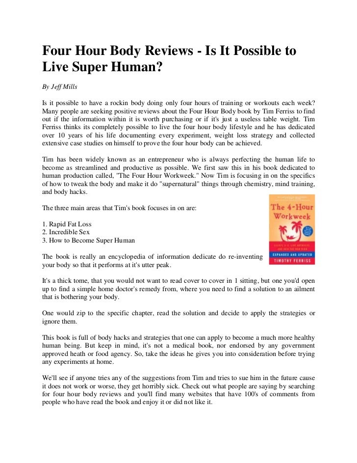 Four hour body reviews   is it possible to live super human