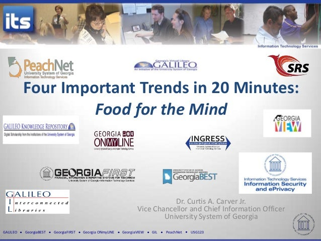 Four Important Trends in 20 Minutes:                   Food for the Mind                                                  ...