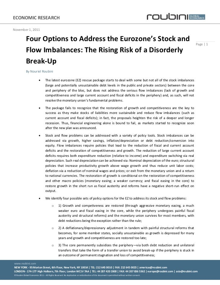 4 options to address the eurozone's stock and flow imbalances   the rising risk of a disorderly break-up - november 1 2011 (1)