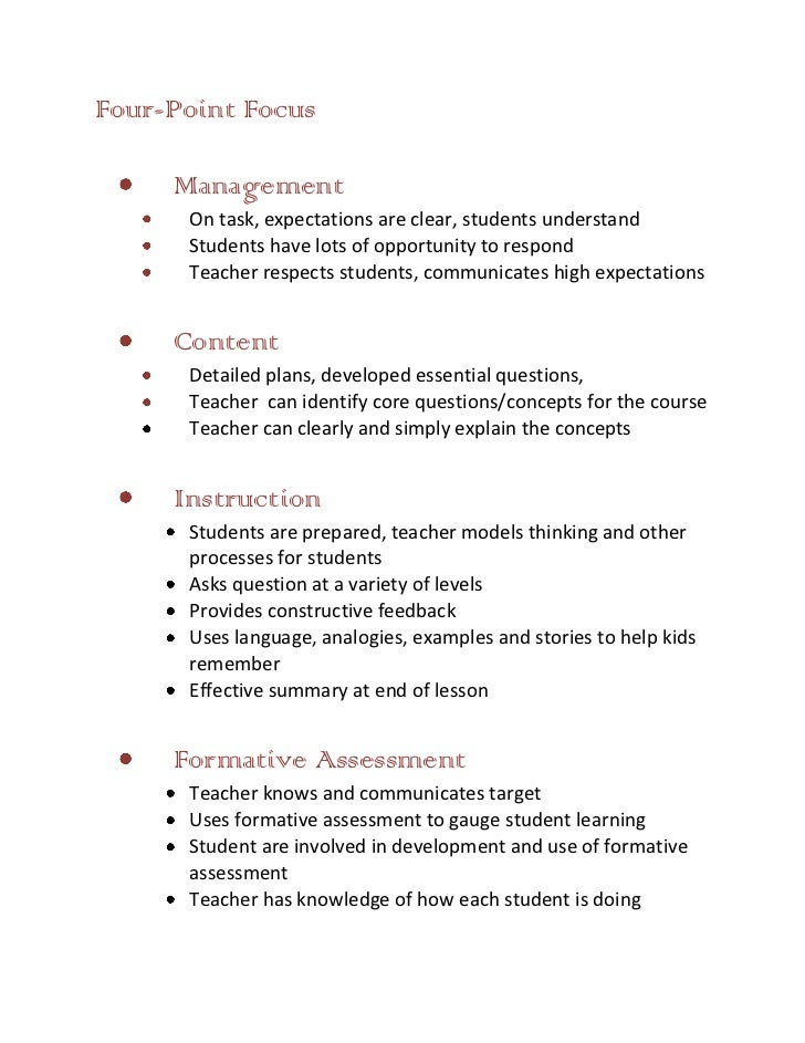 Four-Point Focus     Management      On task, expectations are clear, students understand      Students have lots of oppor...