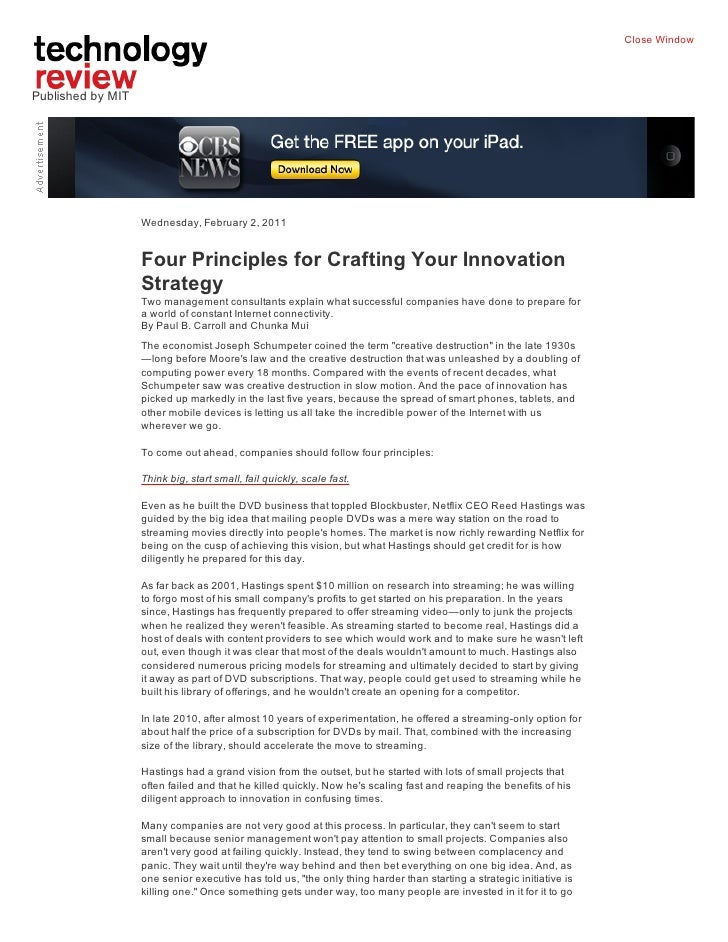 Close WindowPublished by MIT                   Wednesday, February 2, 2011                   Four Principles for Crafting ...