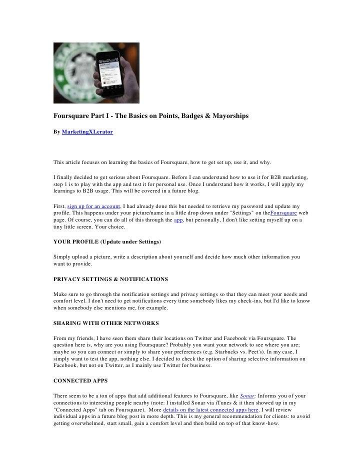 Foursquare Part I - The Basics