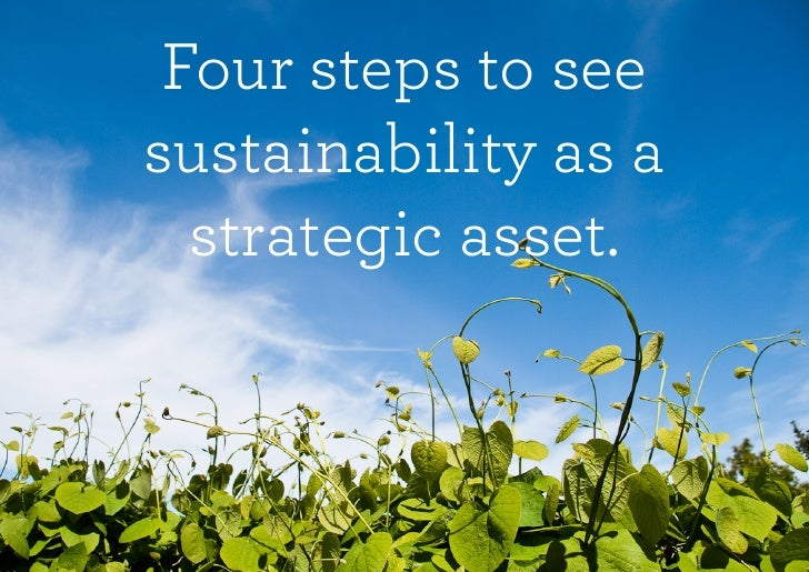 Four steps to see sustainability as a   strategic asset.