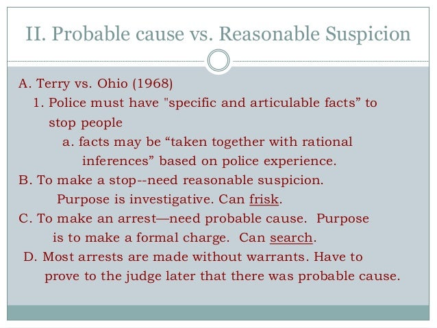 reasonable suspicion vs probable cause essay Abstract: pertaining to the differences between probable cause and reasonable suspicion within law enforcement can determine the difference between a legal search and seizure and police officers officers need to handle each situation when probable cause and reasonable suspicion is involved.