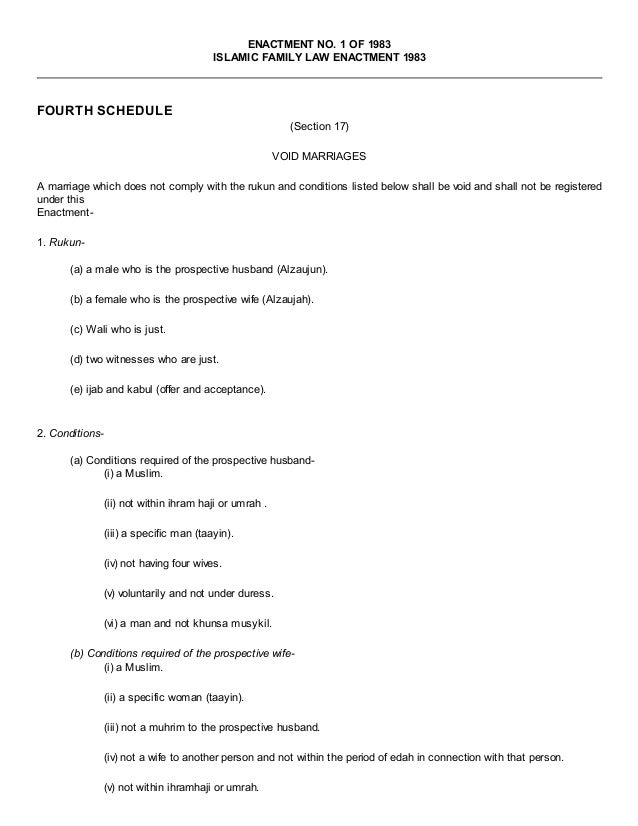 Fourth schedule (islamic family law enactment 1983   enactment no