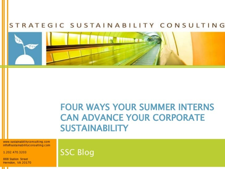 FOUR WAYS YOUR SUMMER INTERNSCAN ADVANCE YOUR CORPORATESUSTAINABILITYSSC Blog