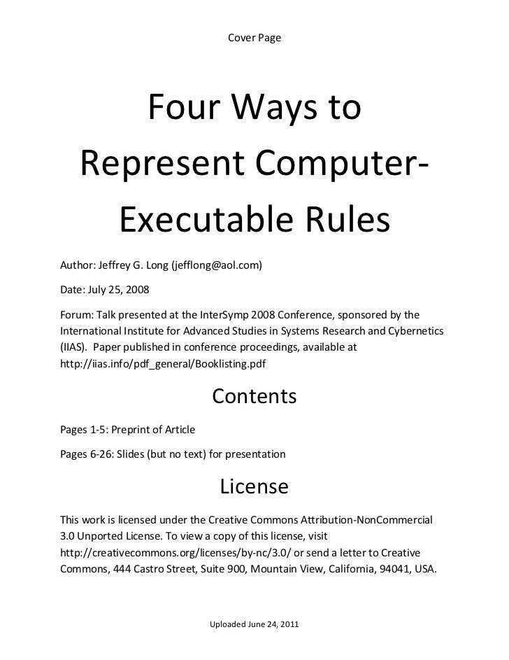 CoverPage        FourWaysto    RepresentComputer‐      ExecutableRulesAuthor:JeffreyG.Long(jefflong@aol.com)...