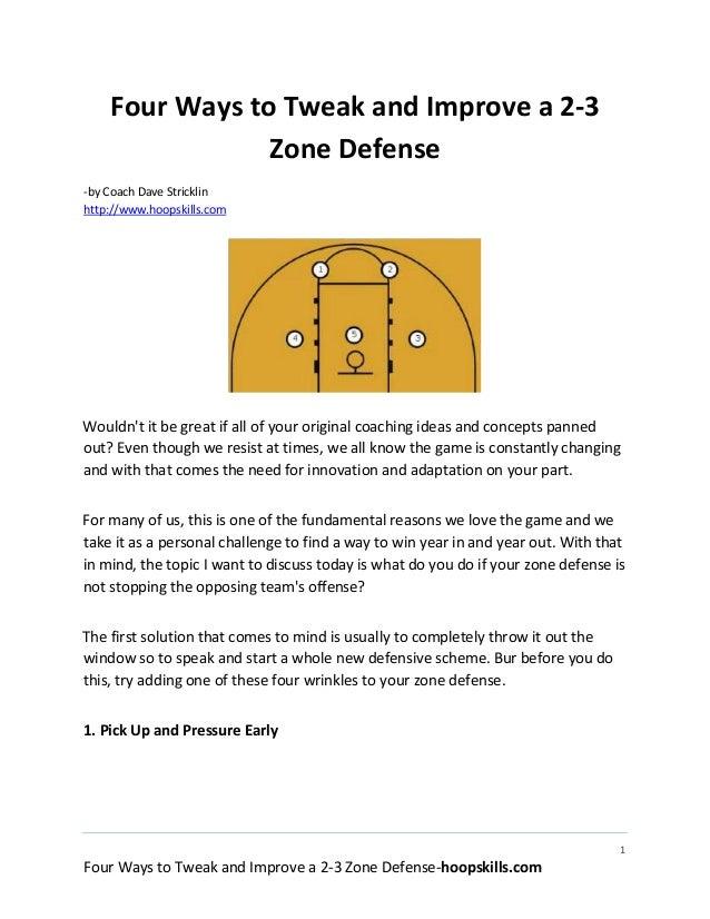 Four ways to tweak and improve a 2-3 basketball zone defense