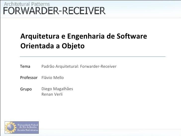 Arquitetura e Engenhariade Software Orientada a Objeto Diego Magalhães Renan Verli Flávio Mello Professor Grupo Tema Padr...