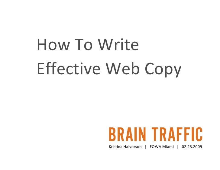 How to Write Effective Web Copy - Fowa Miami 2009