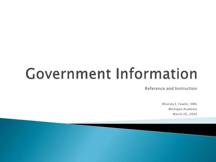 Government Information: Reference and Instruction