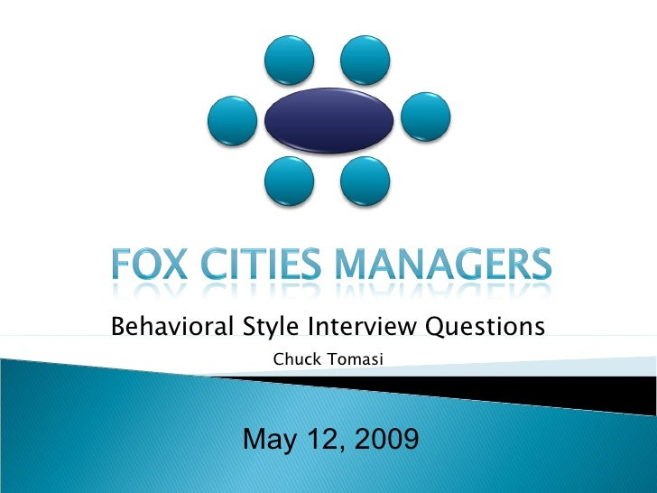 May 12, 2009 Behavioral Style Interview Questions Chuck Tomasi