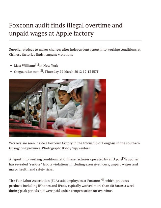 Foxconn audit finds illegal overtime and unpaid wages at Apple factory Supplier pledges to makes changes after independent...