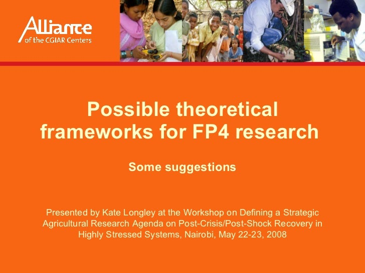 Possible theoretical frameworks for FP4 research  Some suggestions Presented by  Kate Longley  at the Workshop on Defining...