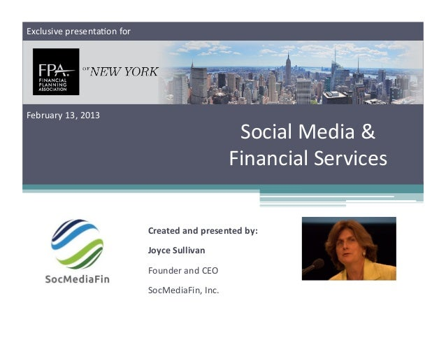Social Media and Financial Services presentation to Financial Planners Association of NY