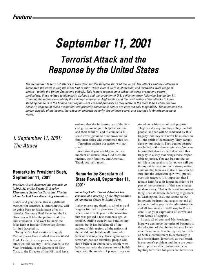 Comprehensive collection of public statements subsequent to 9/11 attacks (Foreign Policy Bulletin)