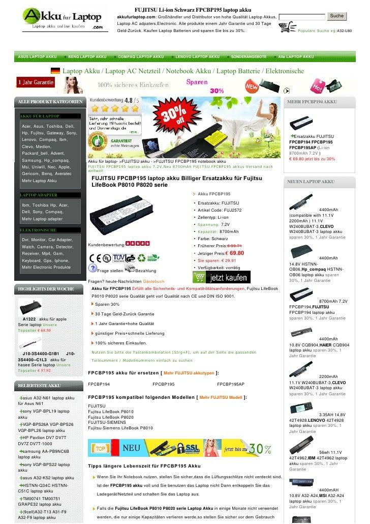 FUJITSU Li-ion Schwarz FPCBP195 laptop akku                                               akkufurlaptop.com:Großhändleru...