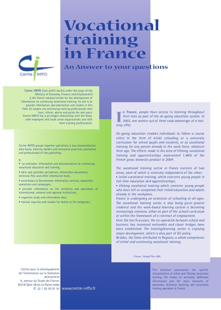 Vocational                                       training                                       in France                 ...