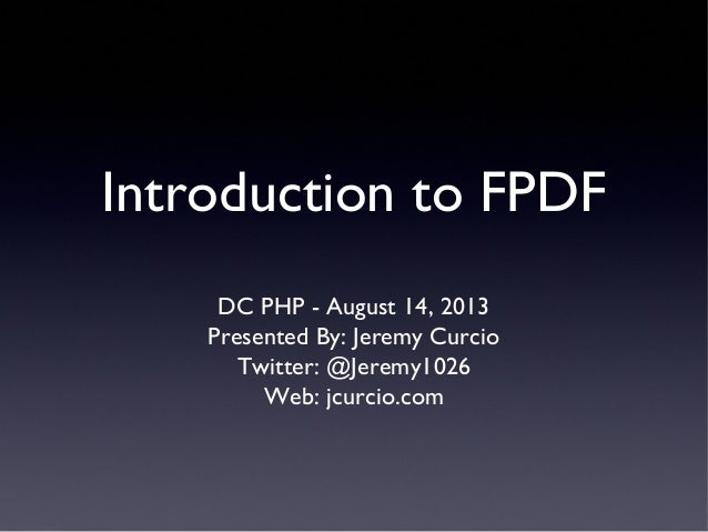 Introduction to FPDF - DC PHP