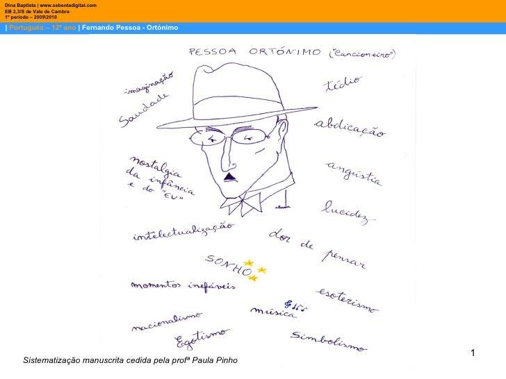 |  Português – 12º ano  | Fernando Pessoa - Ortónimo Dina Baptista | www.sebentadigital.com EB 2,3/S de Vale de Cambra 1º ...
