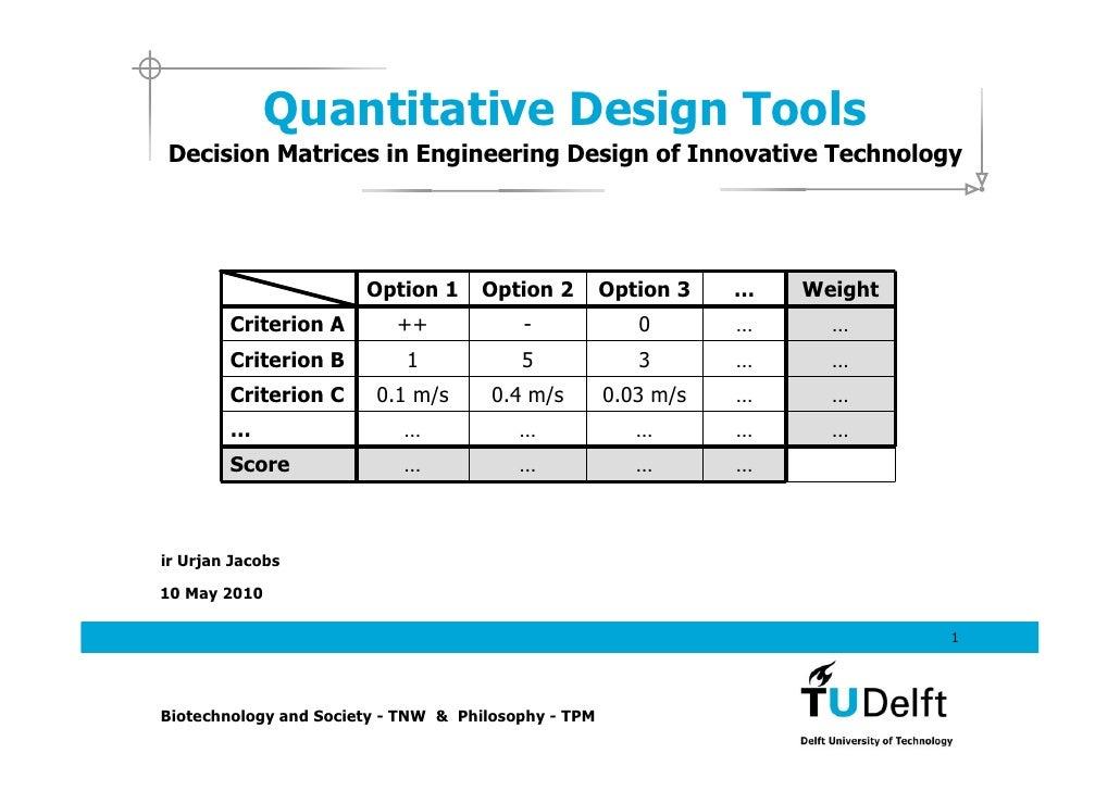 Quantitative Design Tools
