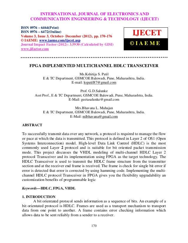 Fpga implemented multichannel hdlc transceiver