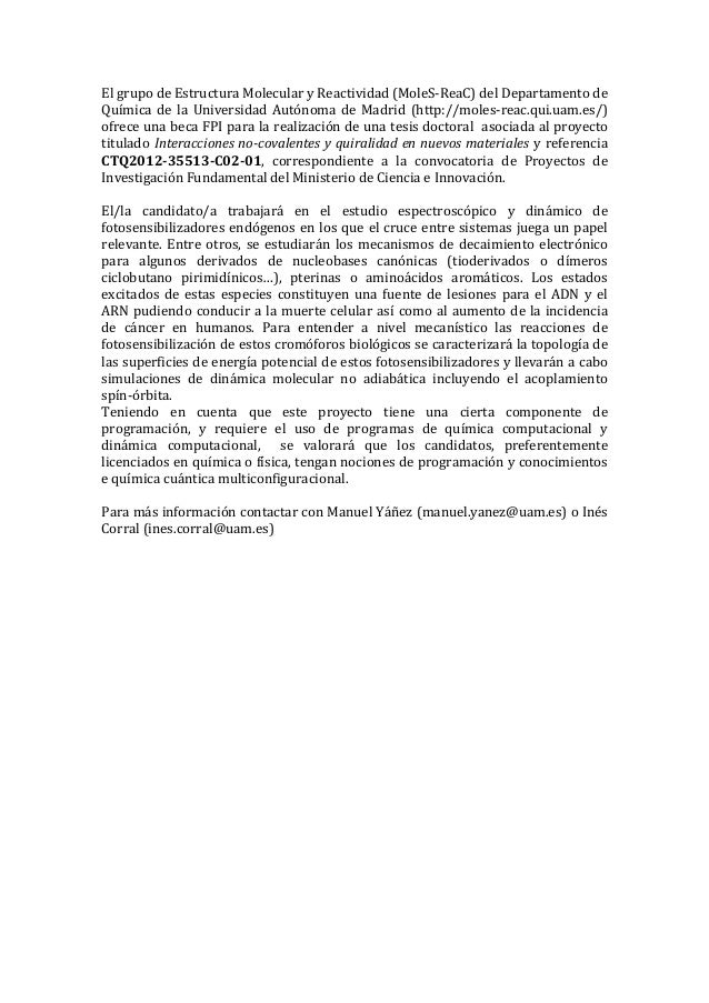 Beca FPI, Dep. Química, Universidad Autónoma de Madrid.