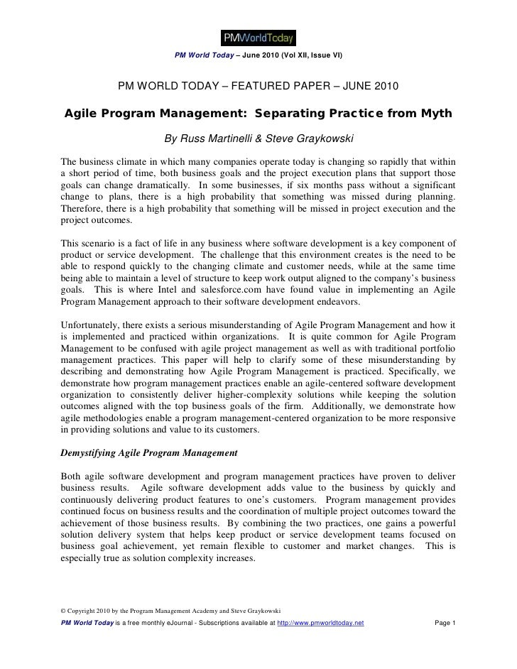 PM World Today – June 2010 (Vol XII, Issue VI)                      PM WORLD TODAY – FEATURED PAPER – JUNE 2010   Agile Pr...