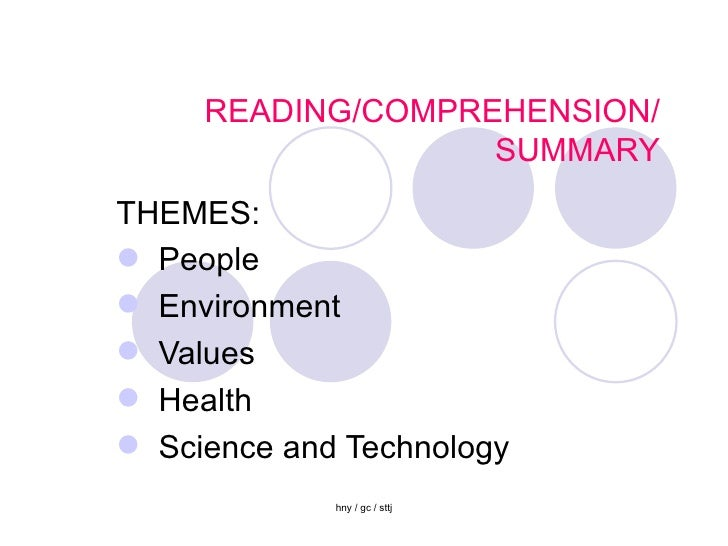 READING/COMPREHENSION/ SUMMARY <ul><li>THEMES:  </li></ul><ul><li>People </li></ul><ul><li>Environment </li></ul><ul><li>V...