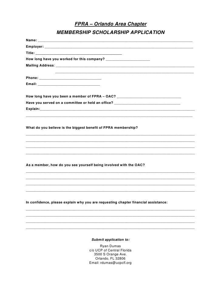 FPRA Chapter Membership Scholarship Application