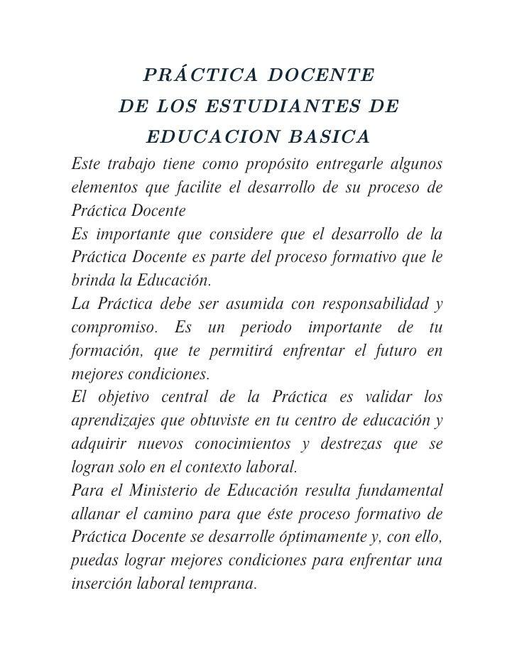 PRACTICAS DOCENTES DE ESTUDIANTES DE EDUCACION BASICA