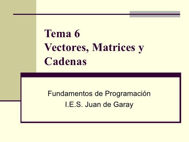 Tema 6  Vectores, Matrices y Cadenas Fundamentos de Programación I.E.S. Juan de Garay