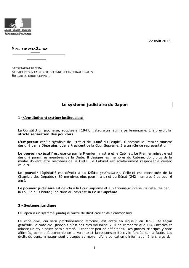 22 août 2013.  SECRETARIAT GENERAL SERVICE DES AFFAIRES EUROPEENNES ET INTERNATIONALES BUREAU DU DROIT COMPARE  Le système...