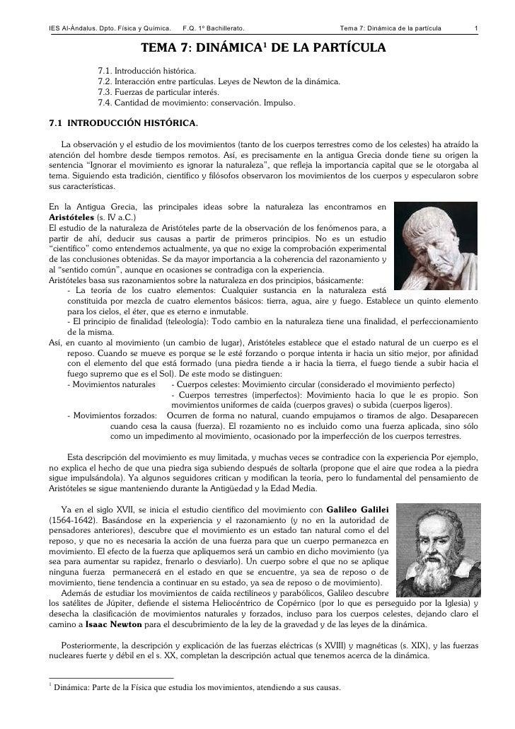 IES Al-Ándalus. Dpto. Física y Química.   F.Q. 1º Bachillerato.                      Tema 7: Dinámica de la partícula   1 ...