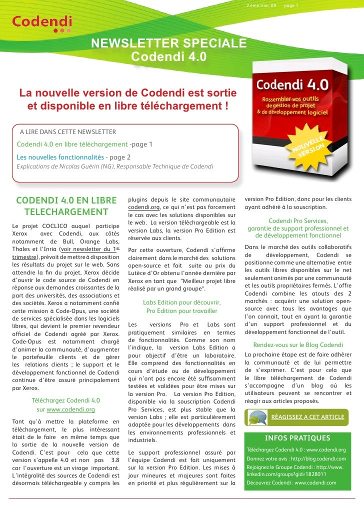2 ème trim. 09   page 1                                    NEWSLETTER SPECIALE                                    Codendi ...