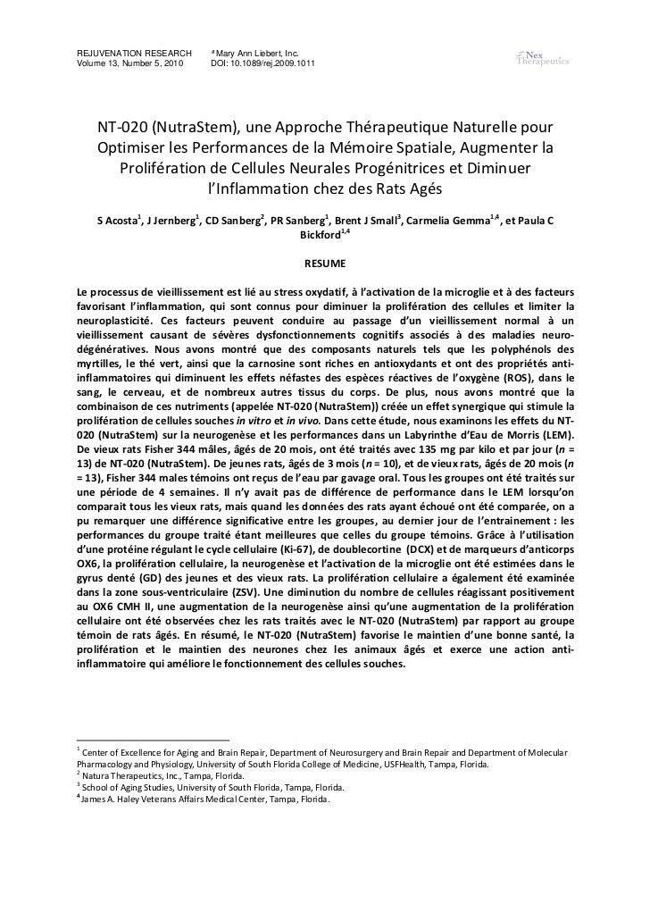 REJUVENATION RESEARCH            ª Mary Ann Liebert, Inc.Volume 13, Number 5, 2010        DOI: 10.1089/rej.2009.1011     N...