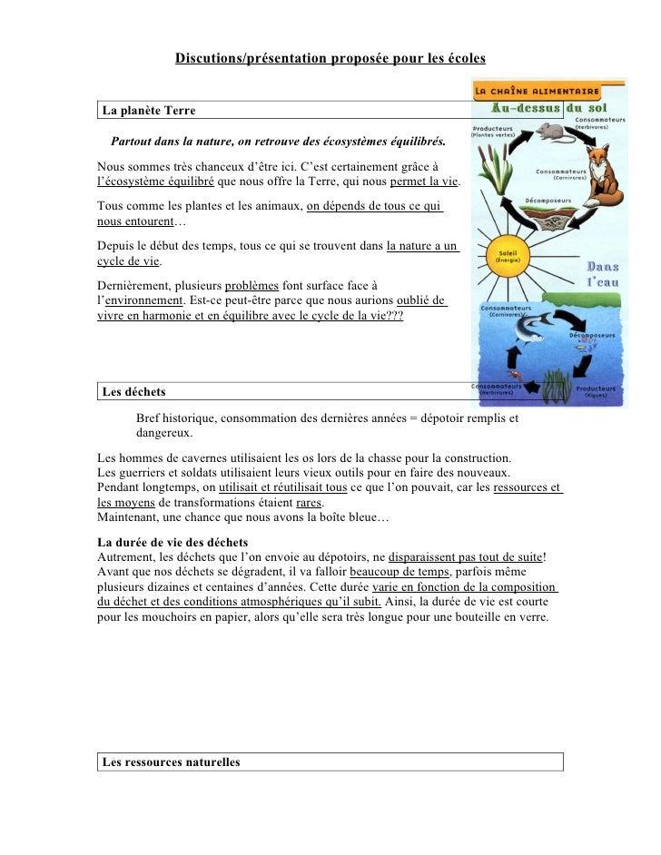 Discutions/présentation proposée pour les écoles   La planète Terre    Partout dans la nature, on retrouve des écosystèmes...