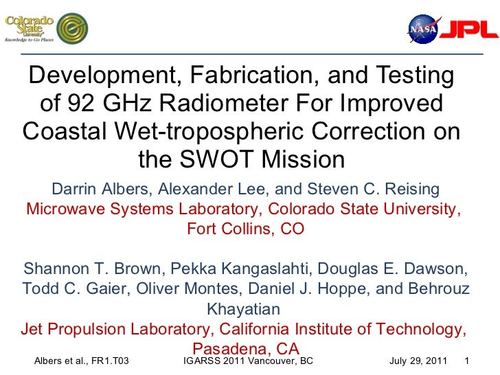Development, Fabrication, and Testing of 92 GHz Radiometer For Improved Coastal Wet-tropospheric Correction on the SWOT Mi...